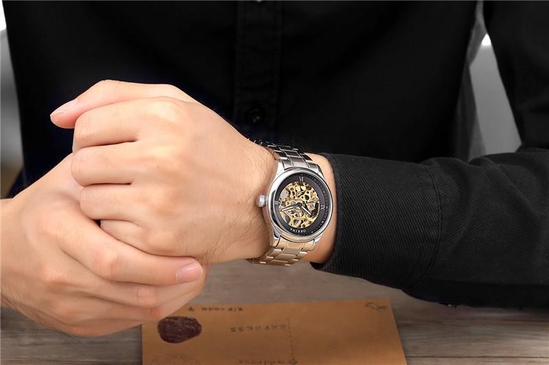2016 ГОРЯЧЕЙ ORKINA Марка Пояс Автоматические Механические Часы Киль Полые Моды Бизнес Часы Водонепроницаемые роскошные часы мужчин