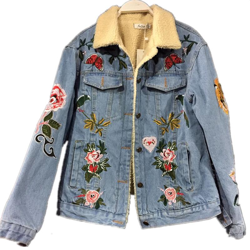 Джинсовые пальто женские с вышивкой 88
