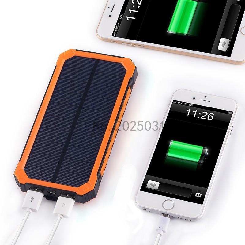 Portable Solar Power Bank 20000MAH bateria externa portatil Dual USB LED External Mobile Phone Battery Charger Backup Powerbank