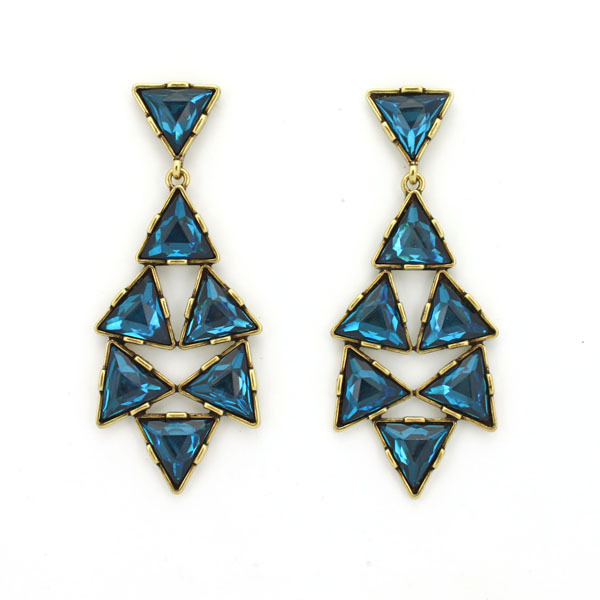 Wholesale Glam Crystal Blue Triangle Chandelier Drop Earrings Designer Party Ohrring brinco gota cristal gems cristallo pop 7828(China (Mainland))