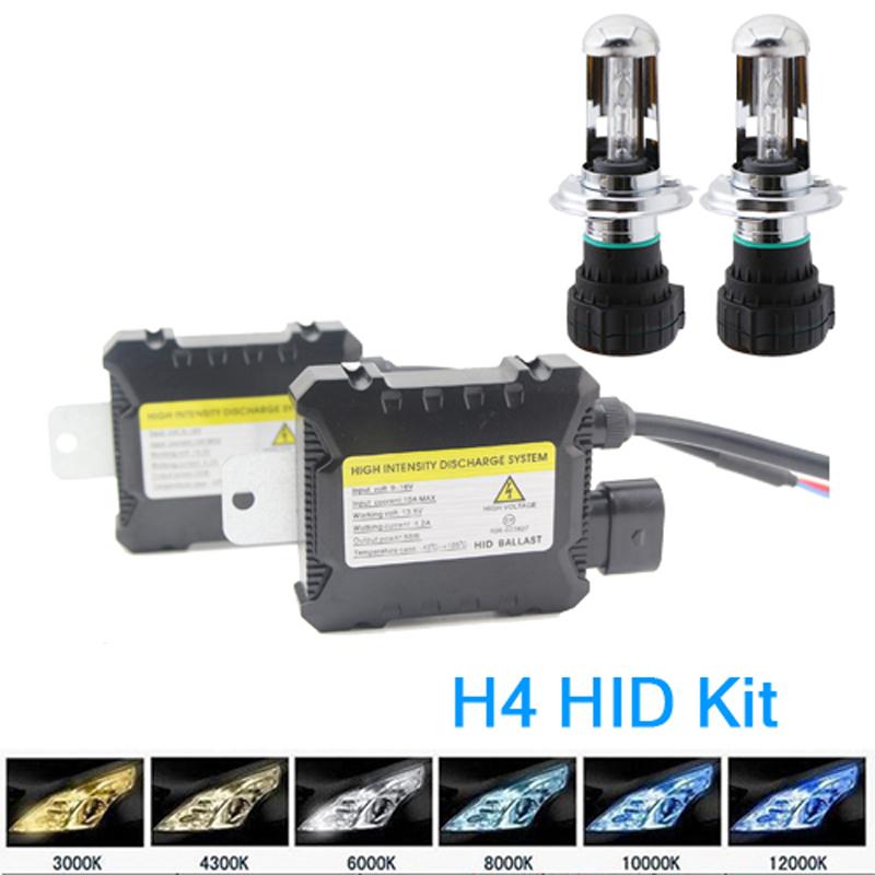 H4 Bi-Xenon HID Xenon Replacement Kit 35W 55W 12V HID Bulbs Light 4300K 6000K 10000K Low and Hi Beam Fog Light Headlight 1 Pair(China (Mainland))