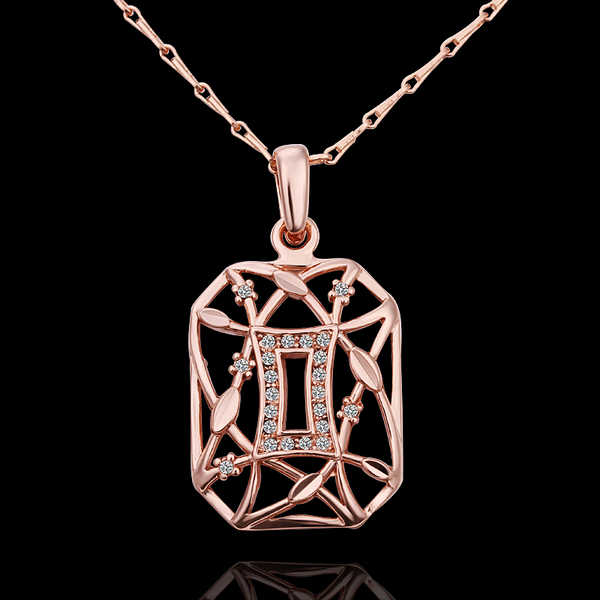 18K Rose Gold plated fashion jewelry Austria Crystal,rhinestone,CZ diamond,Nickle Free pendant necklace KN605 - fei shao's store