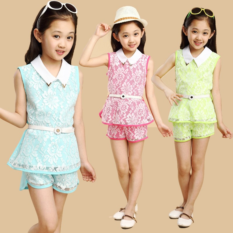 Kids 2014 new Korean baby girls summer clothes for children 4-8-12 year-old child -sleeved track suit(China (Mainland))