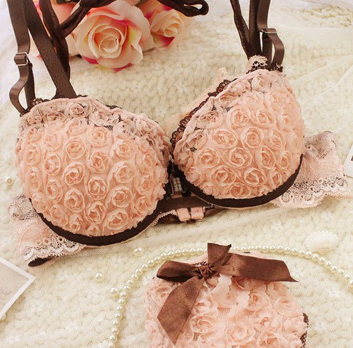 2015 new Japanese and Korean fashion sexy front buckle beauty back Rose push up cute girls underwear bras set free shipping(China (Mainland))