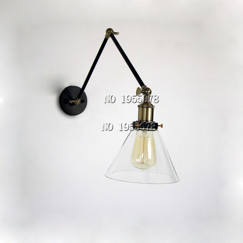 Retro Loft Industrial Vintage glass Wall Lamp light Wall Sconce Adjustable Handle glass Rustic ...