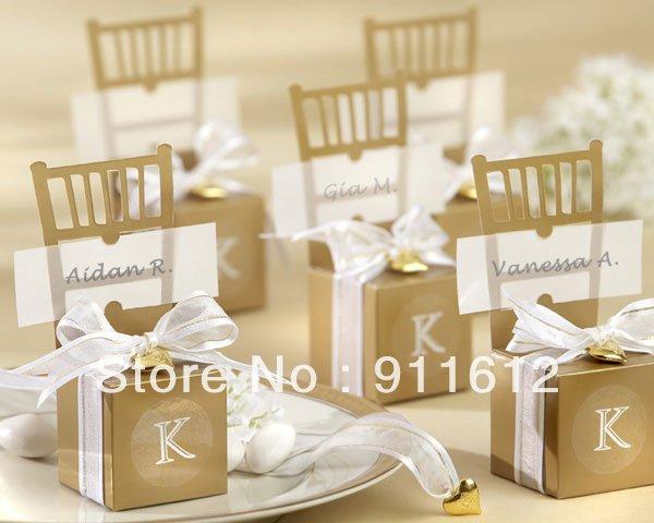 Free Shipping Miniature Gold Chair Wedding favor candy box card DIY Jewelry Box 120pcs/lot candy box gift box(China (Mainland))