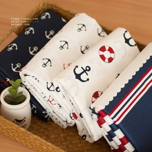 50*160cm marine Navy blue stripe/white anchor life buoy 100% cotton cloths Teida DIY Tissue Patchwork Telas Baby Toy Quilt(China (Mainland))