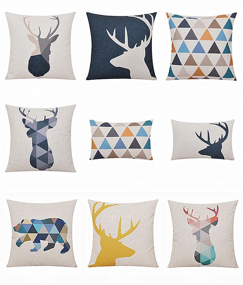 Deer Animals Print Home Decorative Cushion Pillow Room Decors Car Throw Cushion bedding Set For Seat ,Car ,Sofa, Home Decor(China (Mainland))