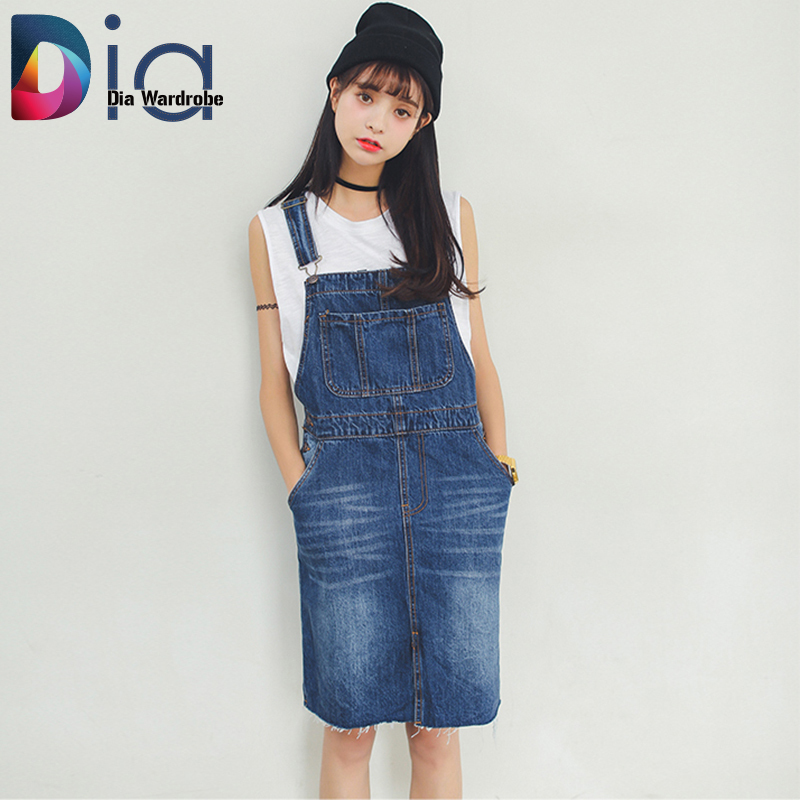 dia suspender skirt high waist denim summer