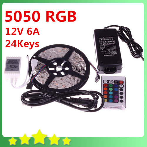 5050 5M Nonwaterproof RGB LED Flexible Strip 300LEDs + 24Key IR Remote Controller + 12V 6A Power Adapter Free Shipping(China (Mainland))
