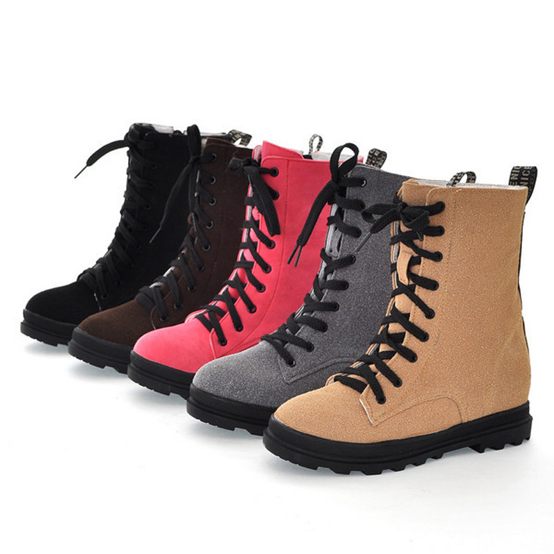 5 color Ankle boots Round Toe Flat with shoes women Boots Zip Lace-Up Winter Martin Boots Casual Platform student boots(China (Mainland))