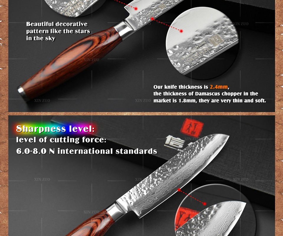 "Buy XINZUO new 5"" santoku knife 73 layers Japan Damascus kitchen knife japanese VG10 chef knife with Color wood handle free shipping cheap"