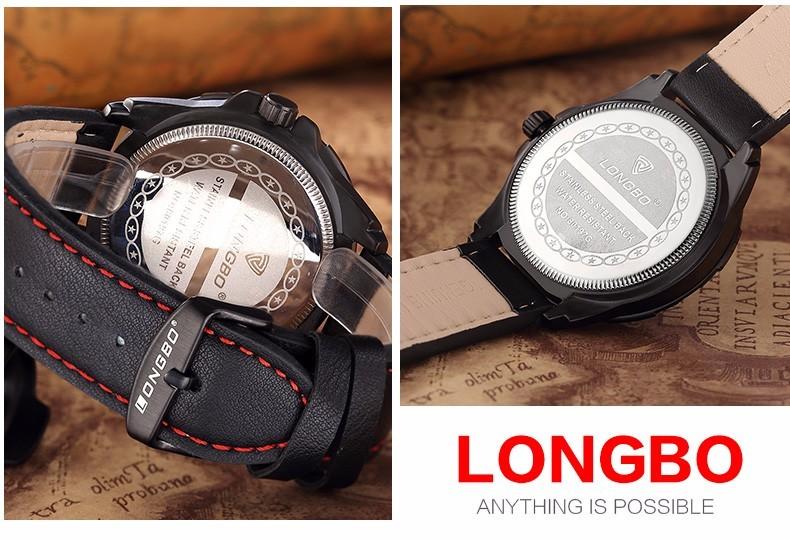 LONGBO Luxury Brand Мужчины Натуральная Кожа Часы 2016 Мужской Досуг Военные Спортивные Водонепроницаемые Наручные Часы Relogio мужской 80188