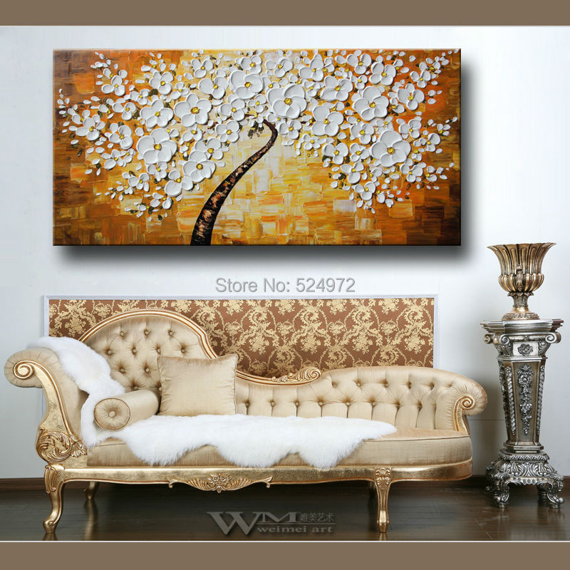 Buy Hand-painted modern home idea decoratio wall art picture white-yellow-tree thick palette knife oil painting on canvas no frame cheap