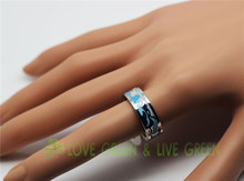 6 8 mm width flower colorful couple rings never fade guarantee shape stainless steel 316L Enamel