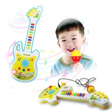 Musical Toy Electronic Guitar Music with Microphone Instrument Educational Toy  Kid Gift Early Education Free Shipping(China (Mainland))