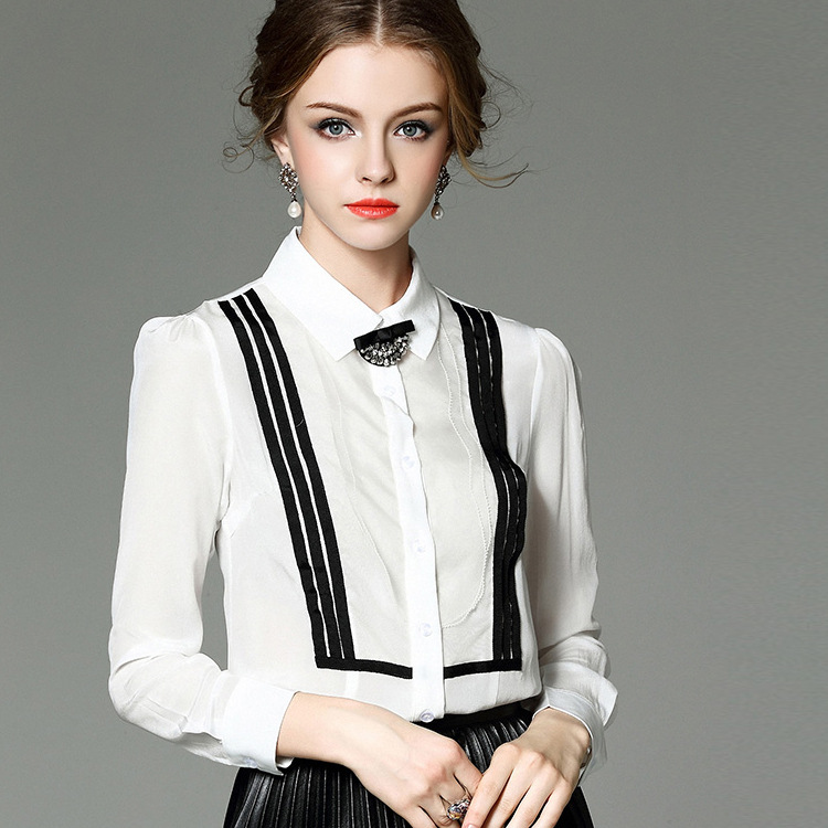 T2097 Europe 2016 spring new female color ribbon bow knot yarn stripe Eugen shirt