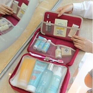 NEW Version Waterproof Women Travel Toiletry Bag makeup organizer wash bag with hook(28*19*10cm)(China (Mainland))