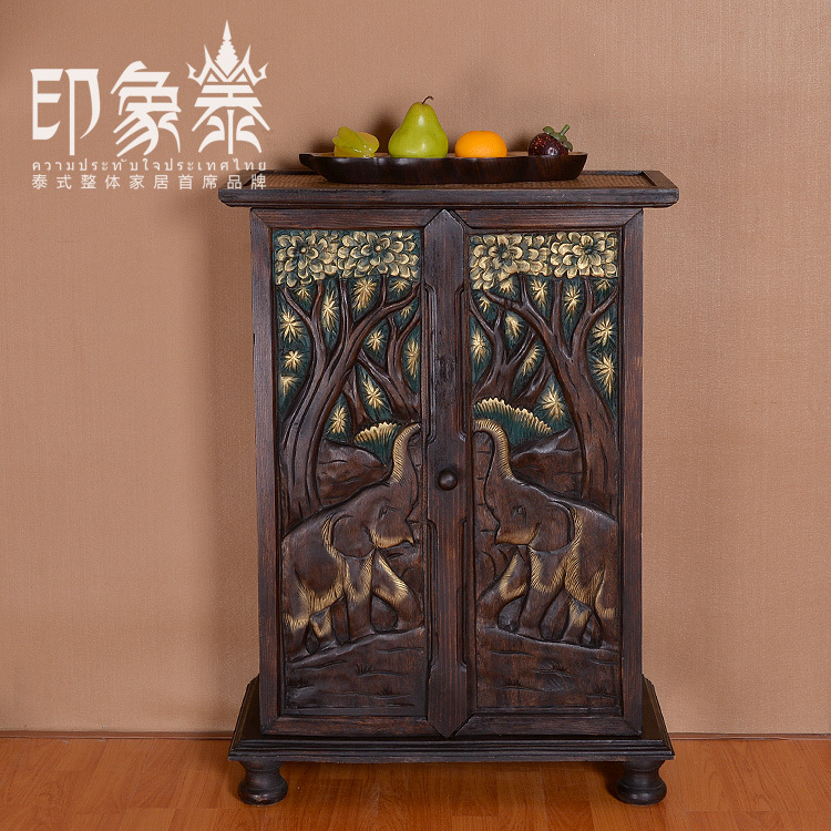 Home Decoration Small Hallway Lockers Iron Wood By Hand Corner Of Thailand Elephant Wood Relief