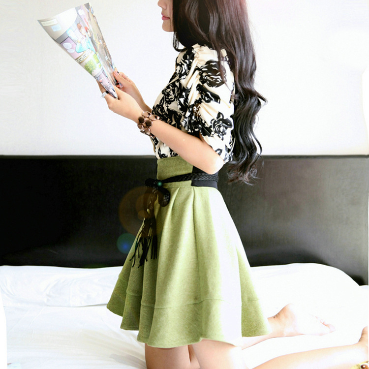 2016 summer new star with a small fresh water and ink rose lotus leaf put A word dress female F6381(China (Mainland))