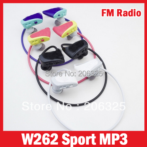 W262 MP3 Player FM,Sport Mp3 Player Headset,Support Microsd Card 2G/4G/8G/16G/32G With Logo+Package(China (Mainland))