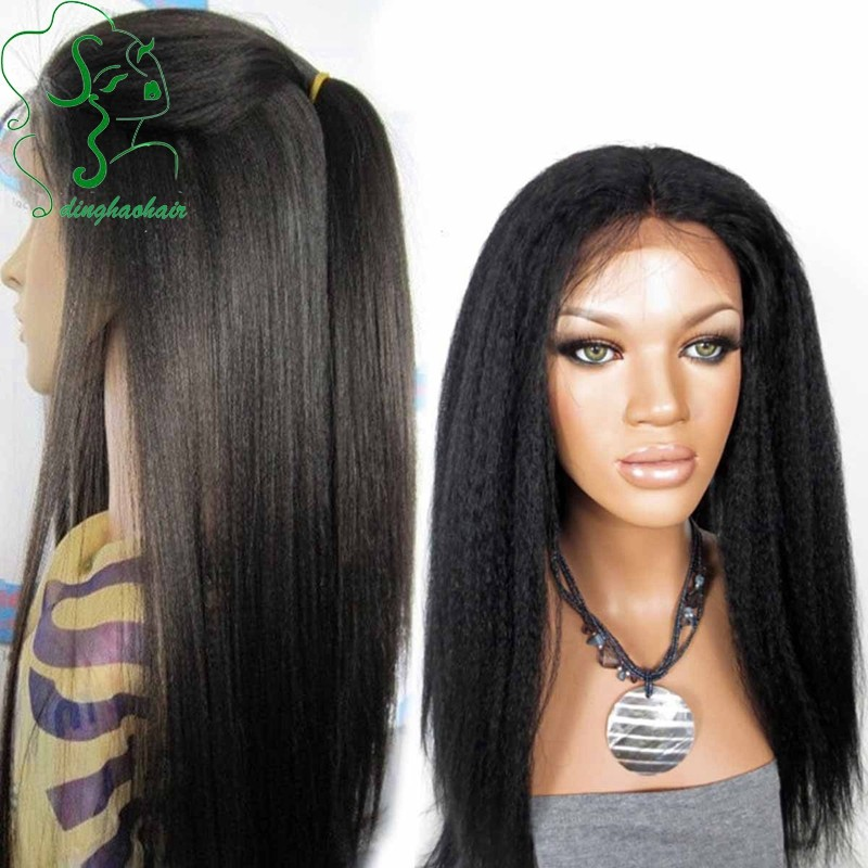 High quality silk base wigs Brazilian virgin human hair silk top lace front wig with baby hair italian yaki wig for black women