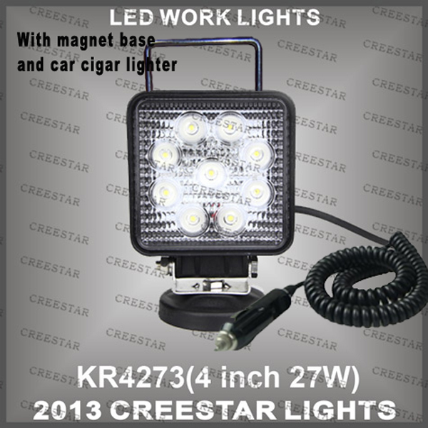 "4"" 27w led work light with strong magnet & handle and Car cigarette lighter KR4273 20pcs/lot DHL Free shipping from creestar(China (Mainland))"