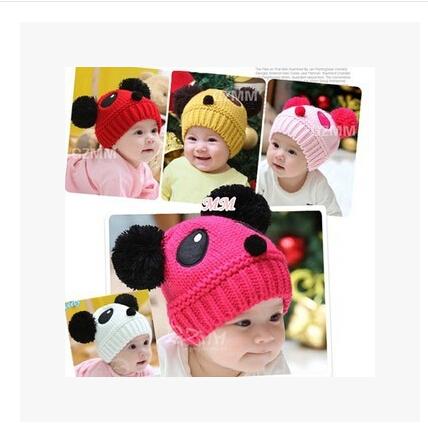 Children Baby Kids Cartoon Winter Hat Panda Ball Knitted Crochet Beanie Cap HOT Selling(China (Mainland))