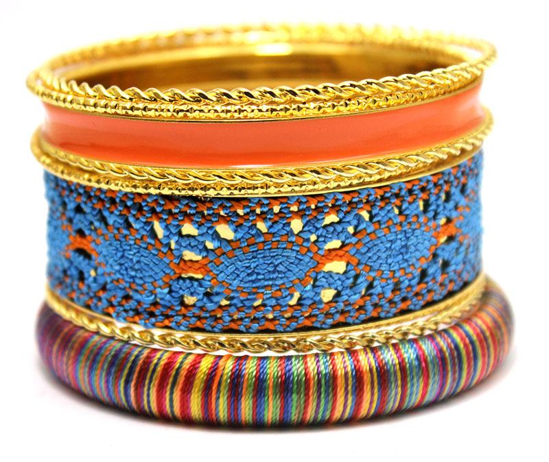 LADYMEE Bracelet Bangles Jewelry Gold Plated Bangle Bracelets for Women Orange Enamel Bangle Indian Jewelry Bracelet Set Boho(China (Mainland))
