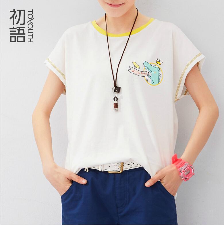 Toyouth Summer T-Shirts Women Casual Batwing Sleeve Crocodile Pattern Printed Basic Casual Tees Lady Tops ropa mujer(China (Mainland))