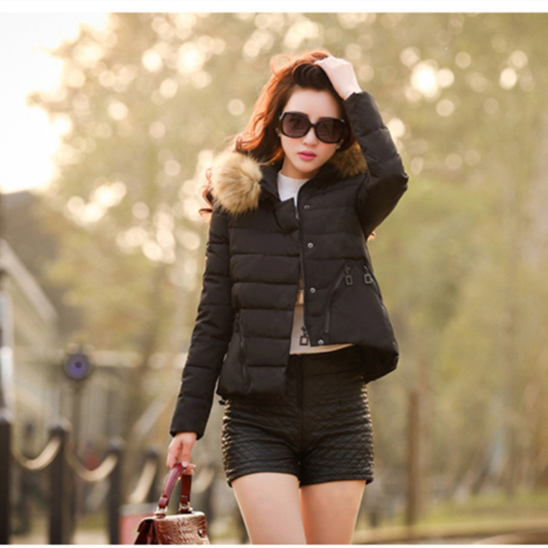 Фотография Nice new winter women down jacket hooded fur collar jackets down coat slim plus size outerwear 6 colors available S-XL CP1122
