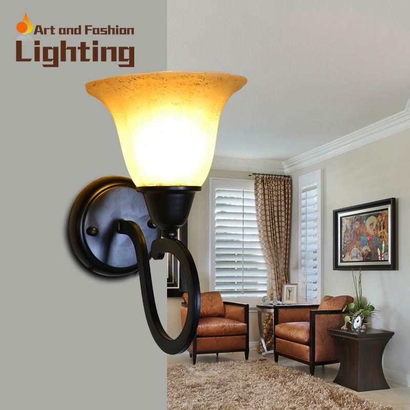 Handmade Wall Lamp Shades : European Iron Wall Lamp Frosted Glass Light Shade Retro Handmade Grain Hotel Living Room Bedside ...
