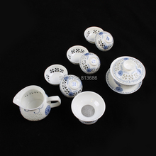 Blue and White Crystal Porcelain Gaiwan and Tea Cup Set Wholesale and Tetail