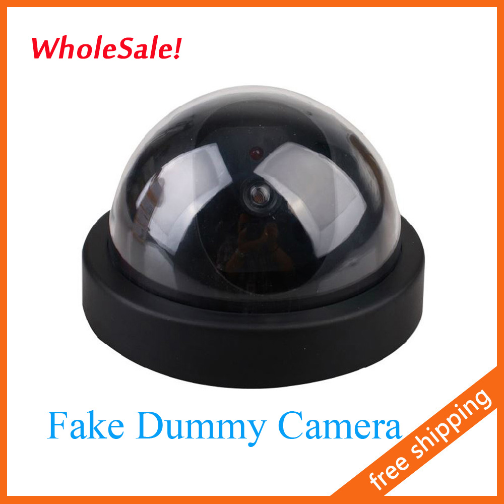 Free Shipping Dummy Fake Surveillance CCTV Security Dome Camera Flashing Red LED Light 50pcs/lot<br><br>Aliexpress