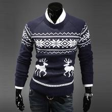 White Blue Dark Grey Men Vintage Novelty Slim Print O Neck Winter Autumn Spring Long Sleeve Sweater Pullover #79200(China (Mainland))