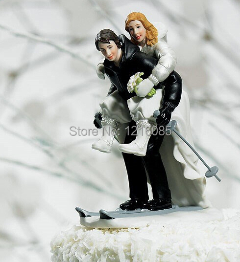 cheap wedding cake toppers skiing funny bride bridegroom figurine cake topper decorations. Black Bedroom Furniture Sets. Home Design Ideas