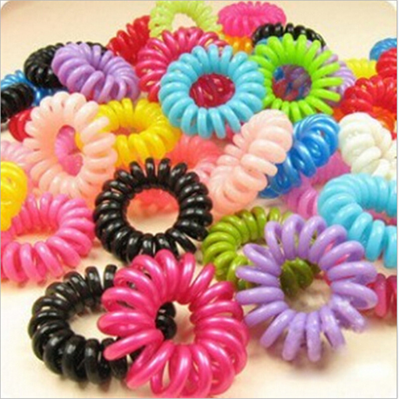 [6415] 10pcs/lot Telephone Wire Line Cord Invisi Traceless Hair Ring Gum Colored Elastic Hair Band For Girl Hair Scrunchy(China (Mainland))