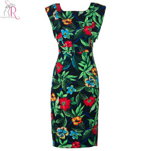 Women Sleeveless Cut out Backless Vintage Floral Graphic Prints Midi Pencil Party Casual Bodycon Dress 2015 Summer Fashion