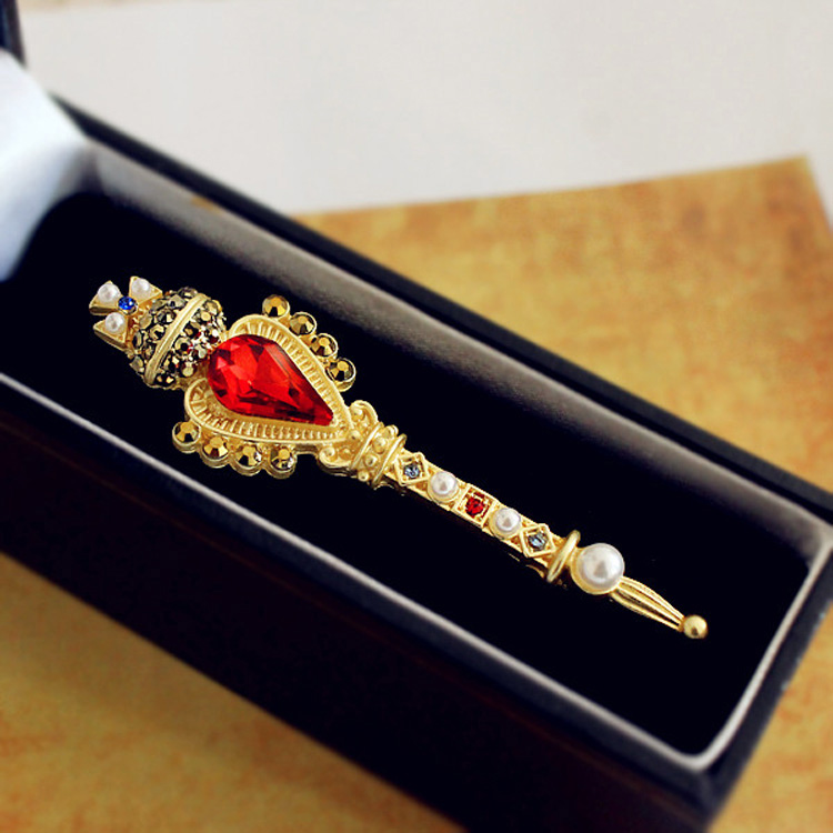 Women Pins Brooch Gold Scepter Royal Crown Cross Rhinestone Faux Gems Stone Stunning Vintage Style Pin Brooches Fashion Jewelry