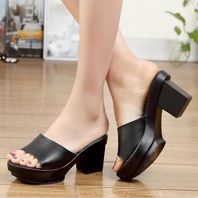 Натуральная кожа тапочки женские двориков сандалии 31 32 33 плюс размер толстый каблук ...