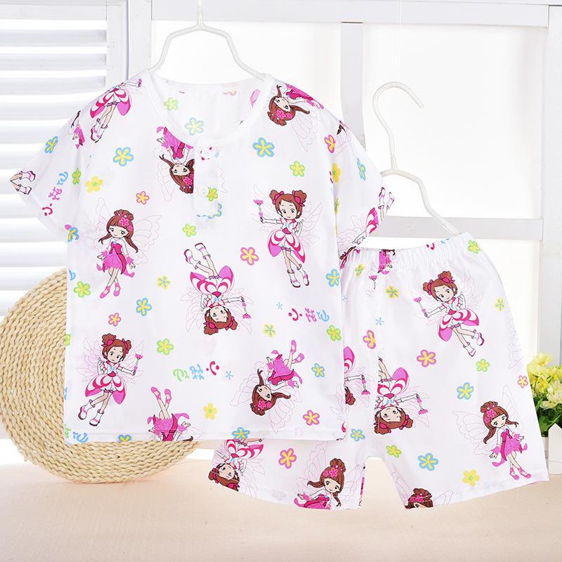 Free shipping 2016 New Poplin Born Babys Casual Pajama Sets Girls Character Raglan Sleeve Sleepwear Kids Lovely Sleep Wear(China (Mainland))