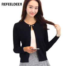 Refeeldeer Knitted Cardigan Women 2017 Spring Autumn Long Sleeve Sweater Cardigan Female Single Button Pull Femme Black Pink(China (Mainland))