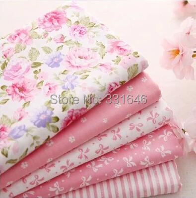 Новый саржевые бледно-розовый хлопчатобумажная ткань жира квартал лоскутное стегальную расслоение тильда DIY швейных ткани младенца игрушка домашний текстиль 5 шт./лот 40 50 см