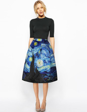 Augfive Charm Lady Casual Multi Scene Print High Waist Pleated Fashion Midi Skirts Multi Floral Printed Free Shipping