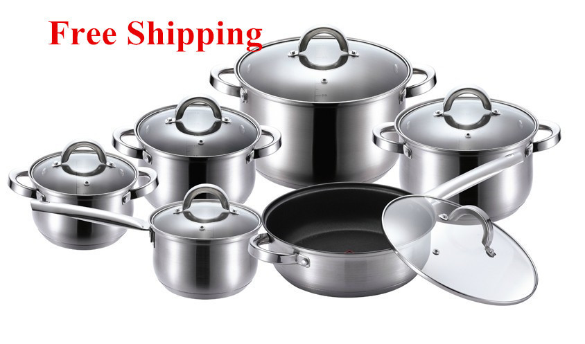 Kaiserhoff Cooking Tools 12 Piece Of Stainless Steel Cookware Set Pots And Pans Frypan Saucepan Cooking Pots Set Panela Cookware(China (Mainland))