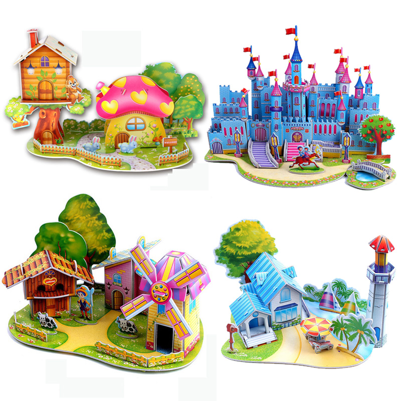 3D Model Puzzle Creative toy development intelligence dream Small villa House building learning & education classic(China (Mainland))