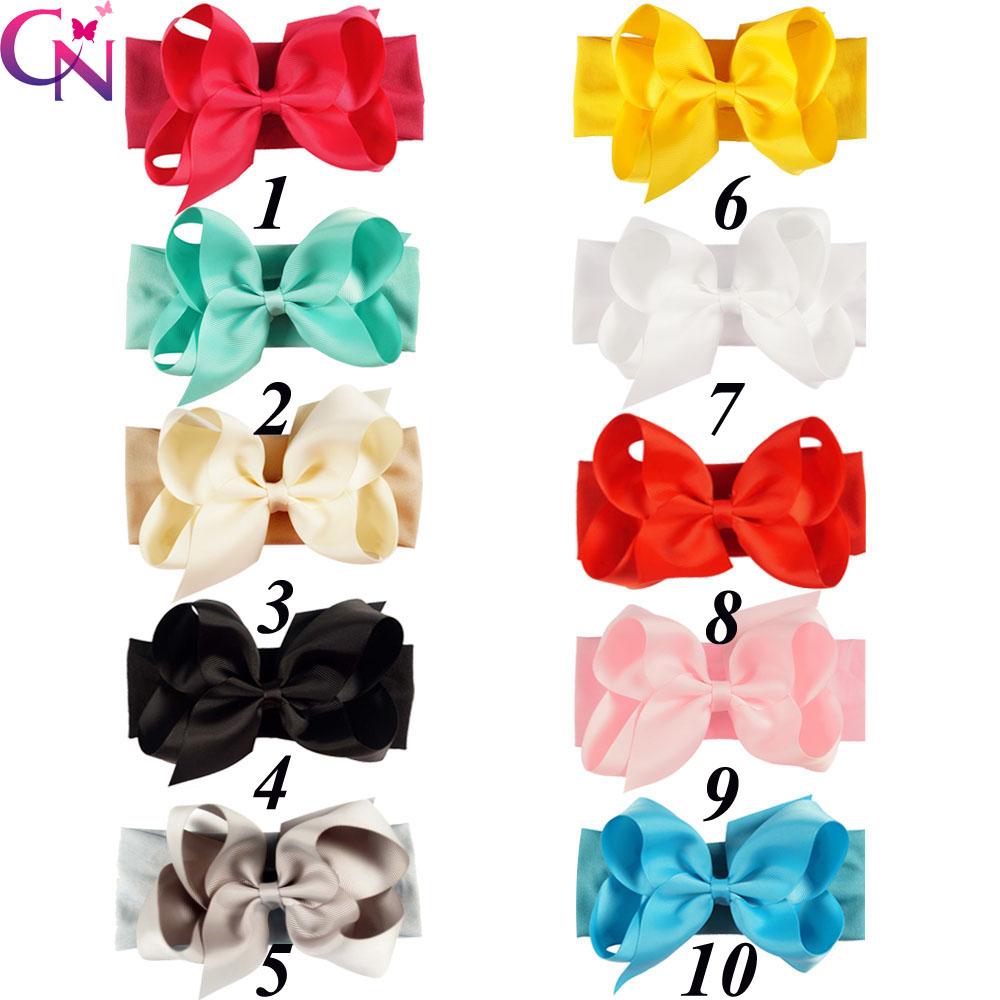 20 Pcs/lot High Quality Handmade Solid Ribbon Bow Headband For Baby Boutique Cotton Strength Headband For Girls Headwear(China (Mainland))