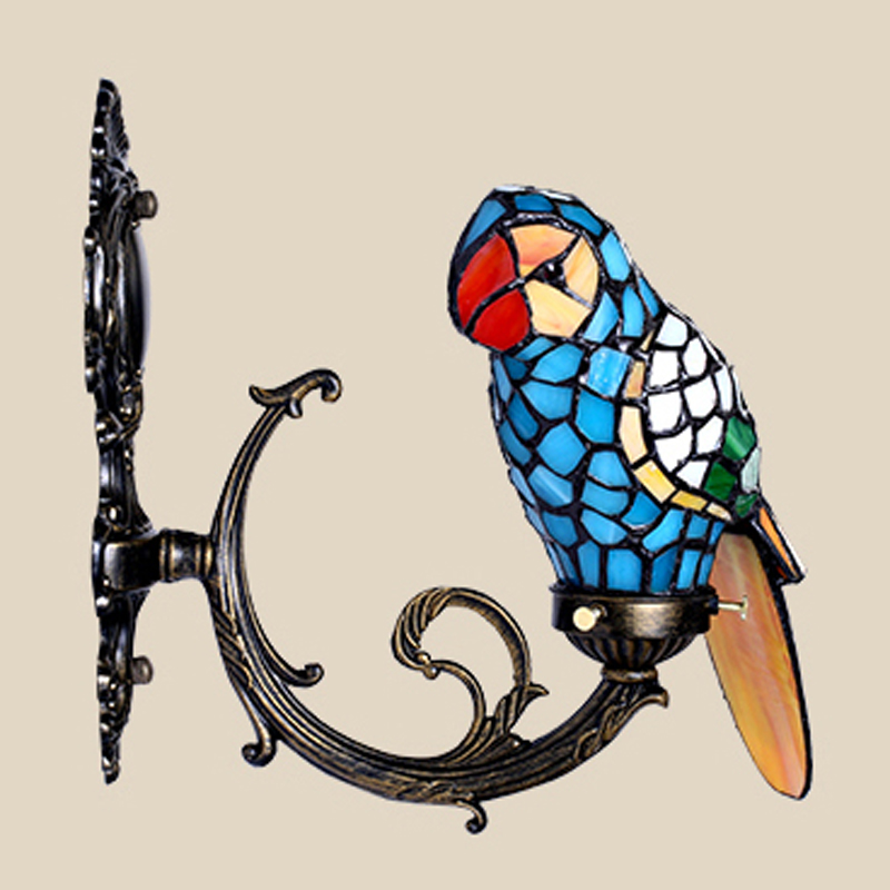 Macaw bird tiffany wall lamp stained glass wall mounted accent lamp for foyer novelty light fixture unique home decor lighting <br><br>Aliexpress