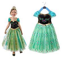 Новый 2015 дети анна костюм фантазия ну вечеринку анна коронация вечернее платье новорожденных девочек костюм хэллоуин косплей рождественский подарок