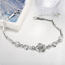 Christmas gift 100% 925 sterling silver Heart  Fashion Jewelry Women  charm bracelets&bangle   WSVH067(China (Mainland))